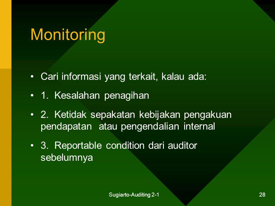 Sugiarto-Auditing 2-1 28 Monitoring Cari informasi yang terkait, kalau ada: 1. Kesalahan penagihan 2. Ketidak sepakatan kebijakan pengakuan pendapatan