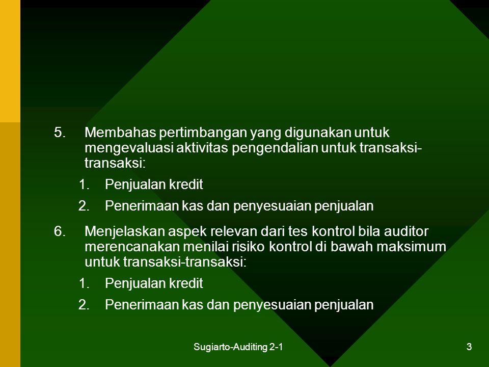 Sugiarto-Auditing 2-1 44 Aktivitas Pengendalian: Transaksi Penyesuaian Penjualan Pemberian diskon tunai Pemberian retur dan rabat penjualan Penentuan jumlah piutang tak tertagih