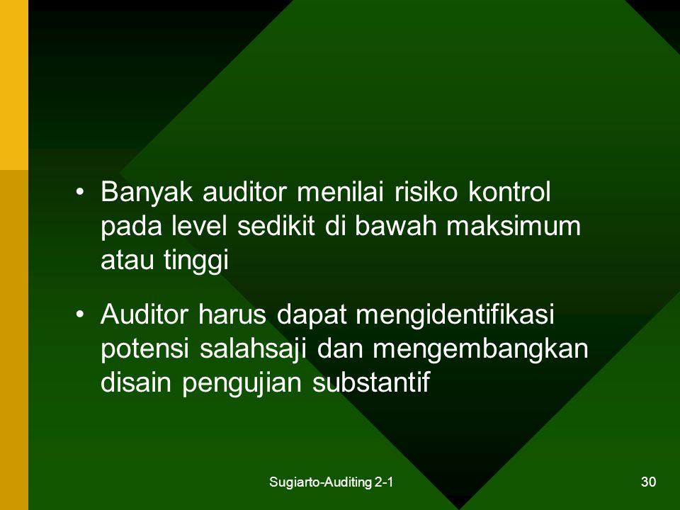 Sugiarto-Auditing 2-1 30 Banyak auditor menilai risiko kontrol pada level sedikit di bawah maksimum atau tinggi Auditor harus dapat mengidentifikasi p