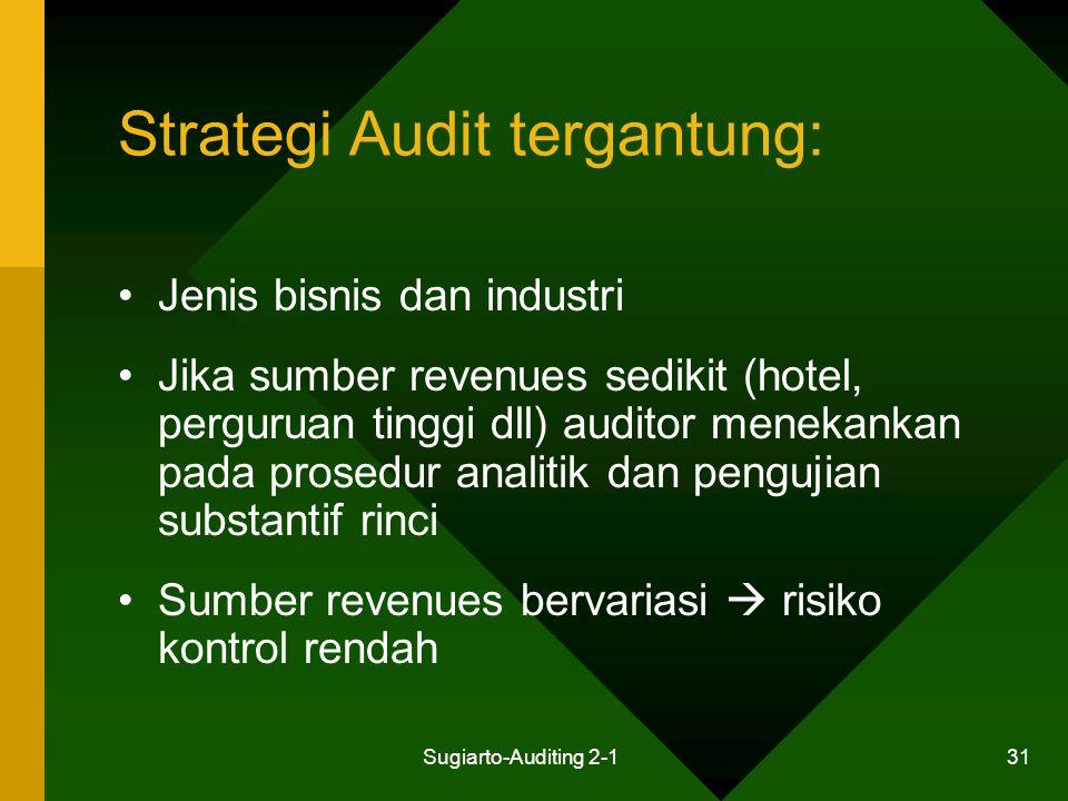 Sugiarto-Auditing 2-1 31 Strategi Audit tergantung: Jenis bisnis dan industri Jika sumber revenues sedikit (hotel, perguruan tinggi dll) auditor menek