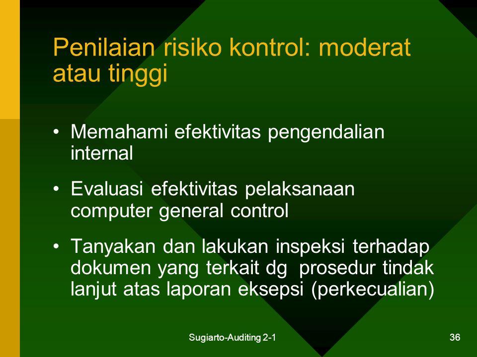 Sugiarto-Auditing 2-1 36 Penilaian risiko kontrol: moderat atau tinggi Memahami efektivitas pengendalian internal Evaluasi efektivitas pelaksanaan com