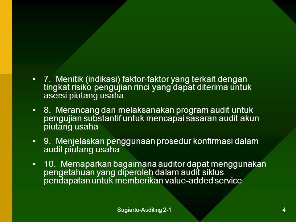 Sugiarto-Auditing 2-1 45 Pengujian Substantif Piutang Usaha Penentuan Risiko Deteksi untuk Pengujian Rinci Perancangan Pengujian Substantif