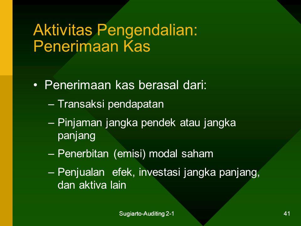 Sugiarto-Auditing 2-1 41 Aktivitas Pengendalian: Penerimaan Kas Penerimaan kas berasal dari: –Transaksi pendapatan –Pinjaman jangka pendek atau jangka