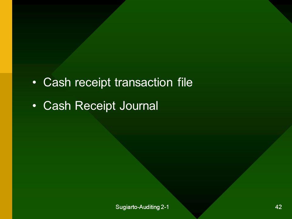 Sugiarto-Auditing 2-1 42 Cash receipt transaction file Cash Receipt Journal