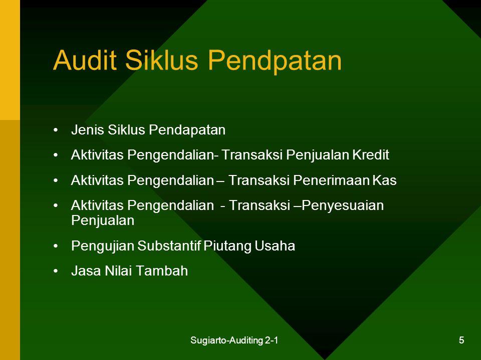 Sugiarto-Auditing 2-1 5 Audit Siklus Pendpatan Jenis Siklus Pendapatan Aktivitas Pengendalian- Transaksi Penjualan Kredit Aktivitas Pengendalian – Tra