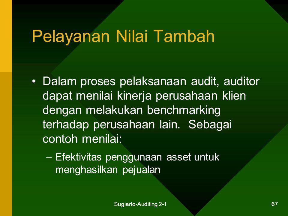 Sugiarto-Auditing 2-1 67 Pelayanan Nilai Tambah Dalam proses pelaksanaan audit, auditor dapat menilai kinerja perusahaan klien dengan melakukan benchm