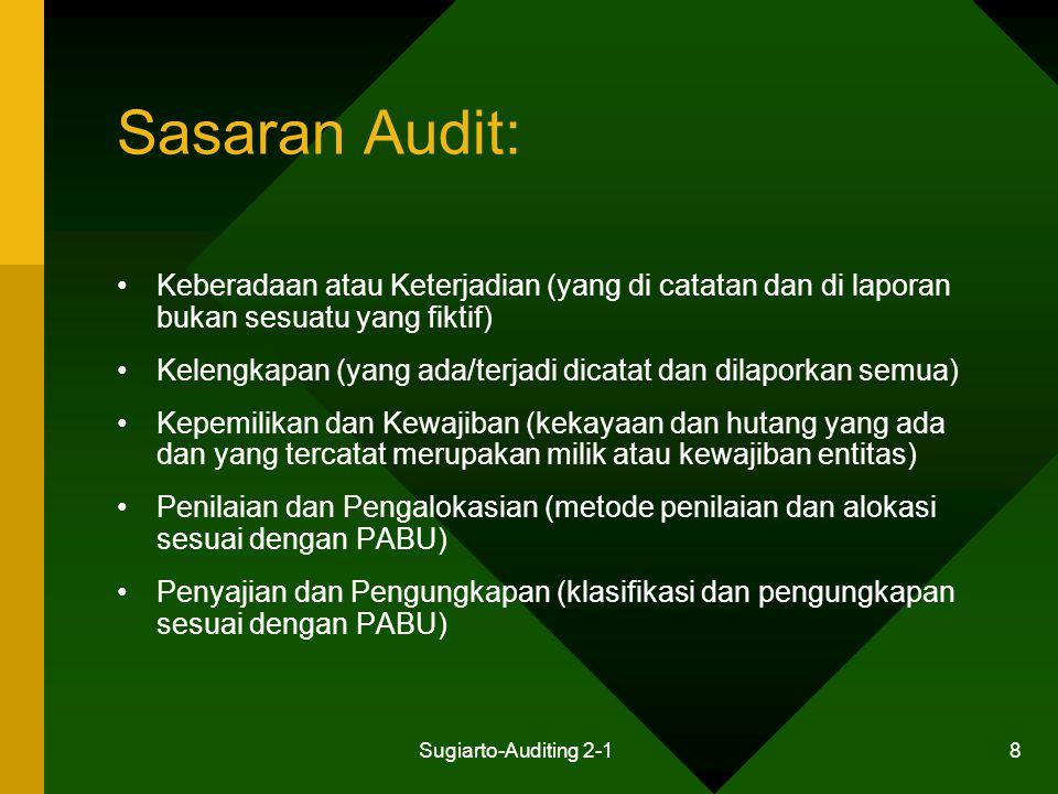 Sugiarto-Auditing 2-1 8 Sasaran Audit: Keberadaan atau Keterjadian (yang di catatan dan di laporan bukan sesuatu yang fiktif) Kelengkapan (yang ada/te