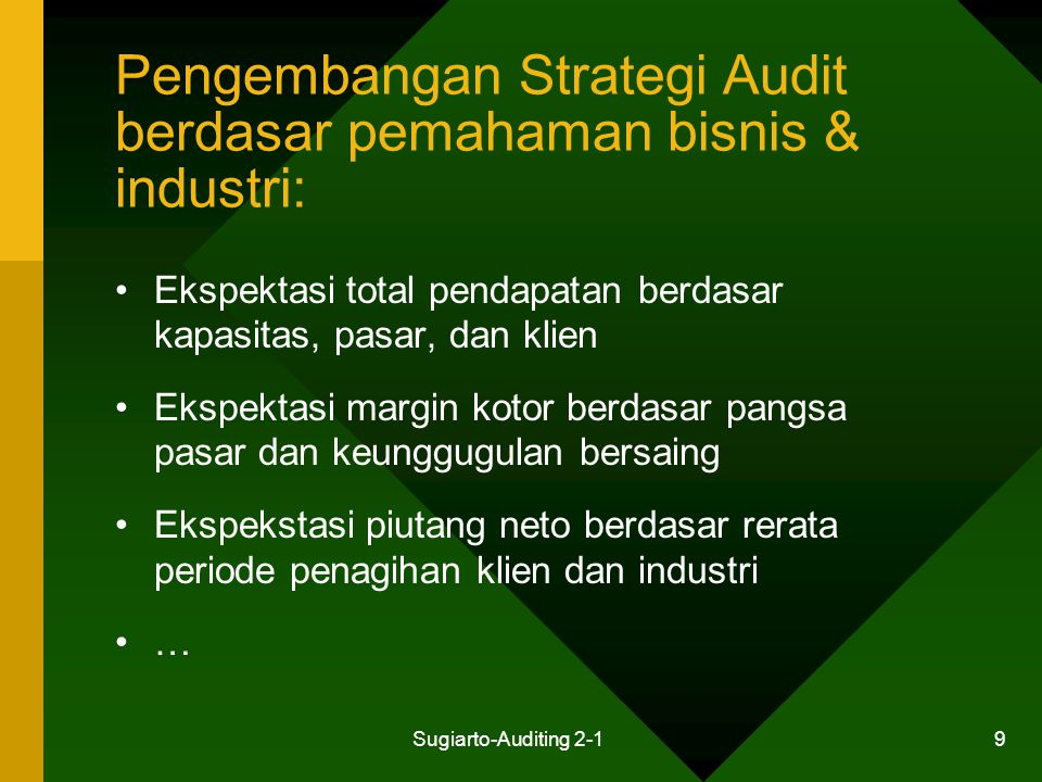 Sugiarto-Auditing 2-1 9 Pengembangan Strategi Audit berdasar pemahaman bisnis & industri: Ekspektasi total pendapatan berdasar kapasitas, pasar, dan k