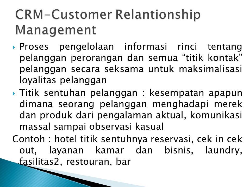 """ Proses pengelolaan informasi rinci tentang pelanggan perorangan dan semua """"titik kontak"""" pelanggan secara seksama untuk maksimalisasi loyalitas pela"""