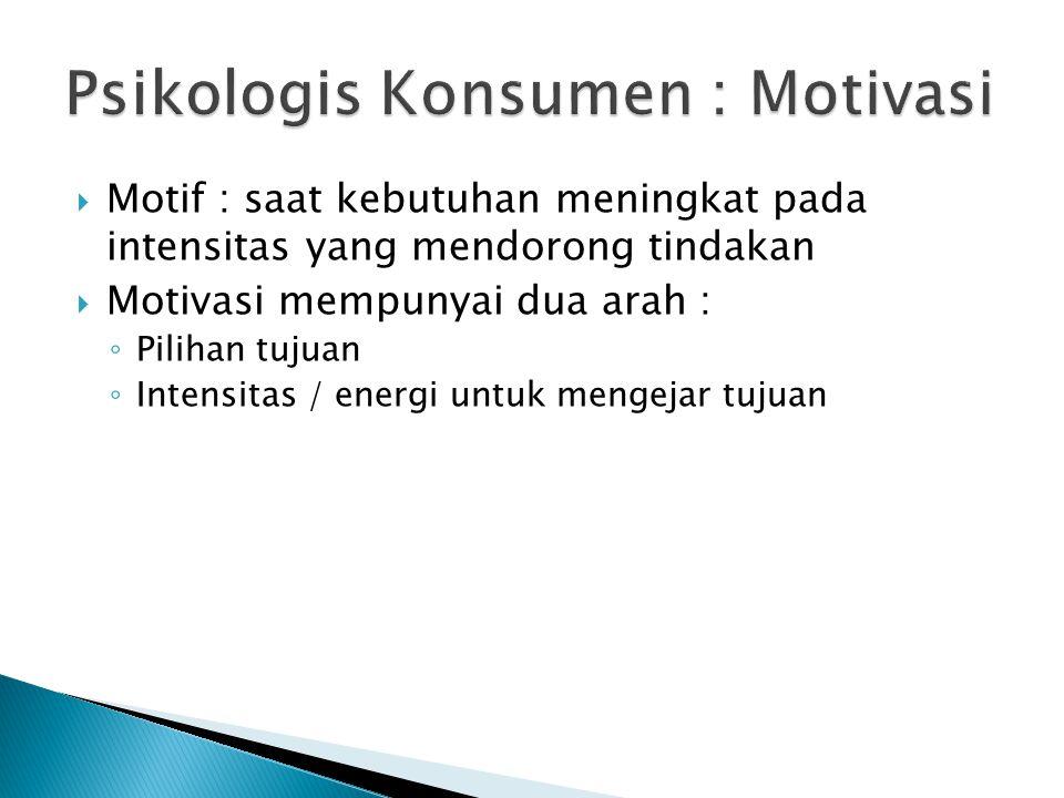  Motif : saat kebutuhan meningkat pada intensitas yang mendorong tindakan  Motivasi mempunyai dua arah : ◦ Pilihan tujuan ◦ Intensitas / energi untu