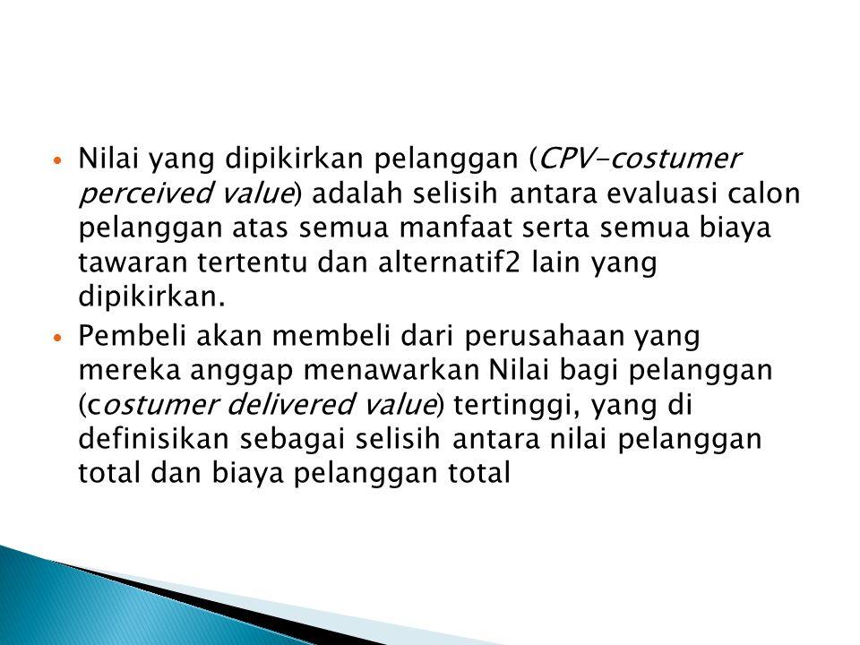 Nilai yang dipikirkan pelanggan (CPV-costumer perceived value) adalah selisih antara evaluasi calon pelanggan atas semua manfaat serta semua biaya taw