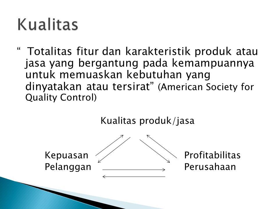 """"""" Totalitas fitur dan karakteristik produk atau jasa yang bergantung pada kemampuannya untuk memuaskan kebutuhan yang dinyatakan atau tersirat"""" (Ameri"""
