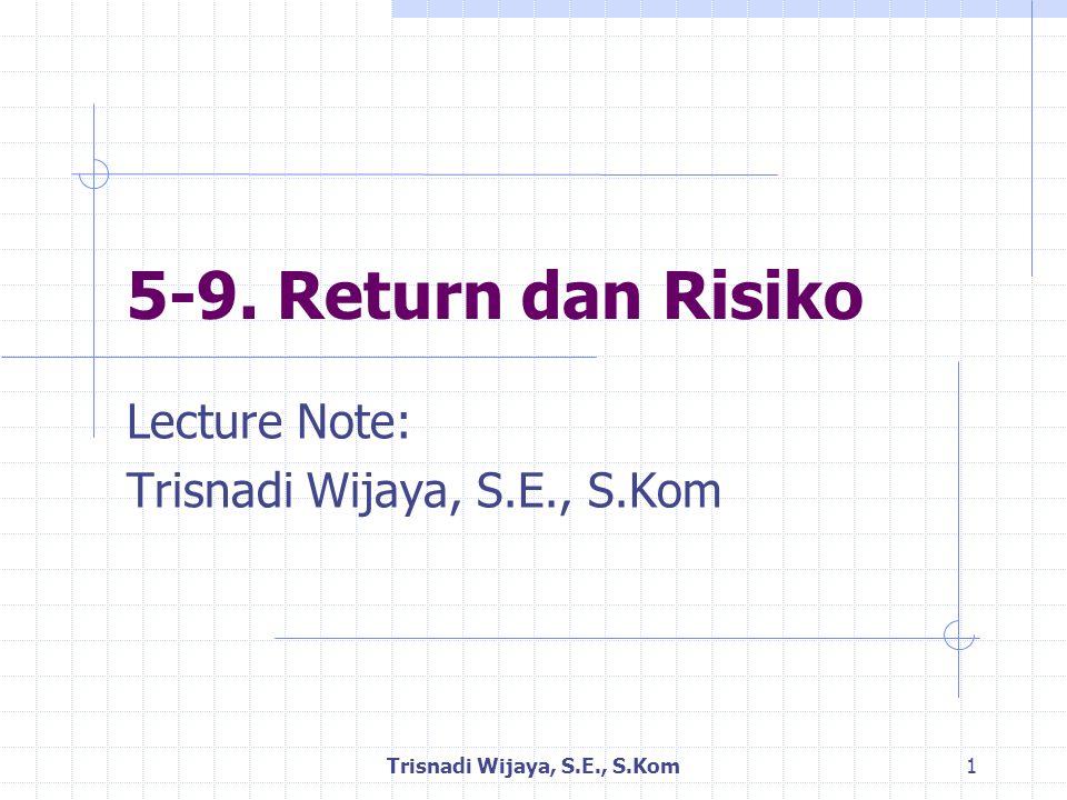 Return Realisasi Trisnadi Wijaya, S.E., S.Kom 12 Return Realisasi dapat dihitung menggunakan rumus: Keterangan: R i,t = Return realisasi i pada periode peristiwa ke t P i,t = harga sekuritas i pada periode peristiwa ke t P i,t-1 = harga sekuritas i pada periode peristiwa ke t-1