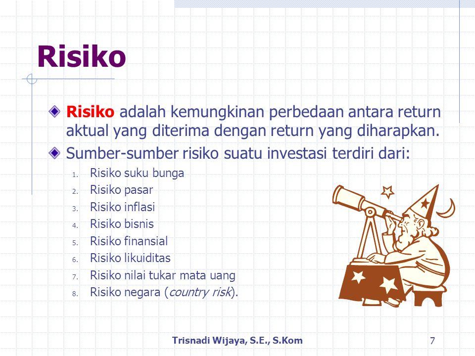 Klasifikasi Risiko Risiko dapat dibedakan menjadi: Risiko dalam konteks aset tunggal  Risiko yang harus ditanggung jika berinvestasi hanya pada satu aset saja.