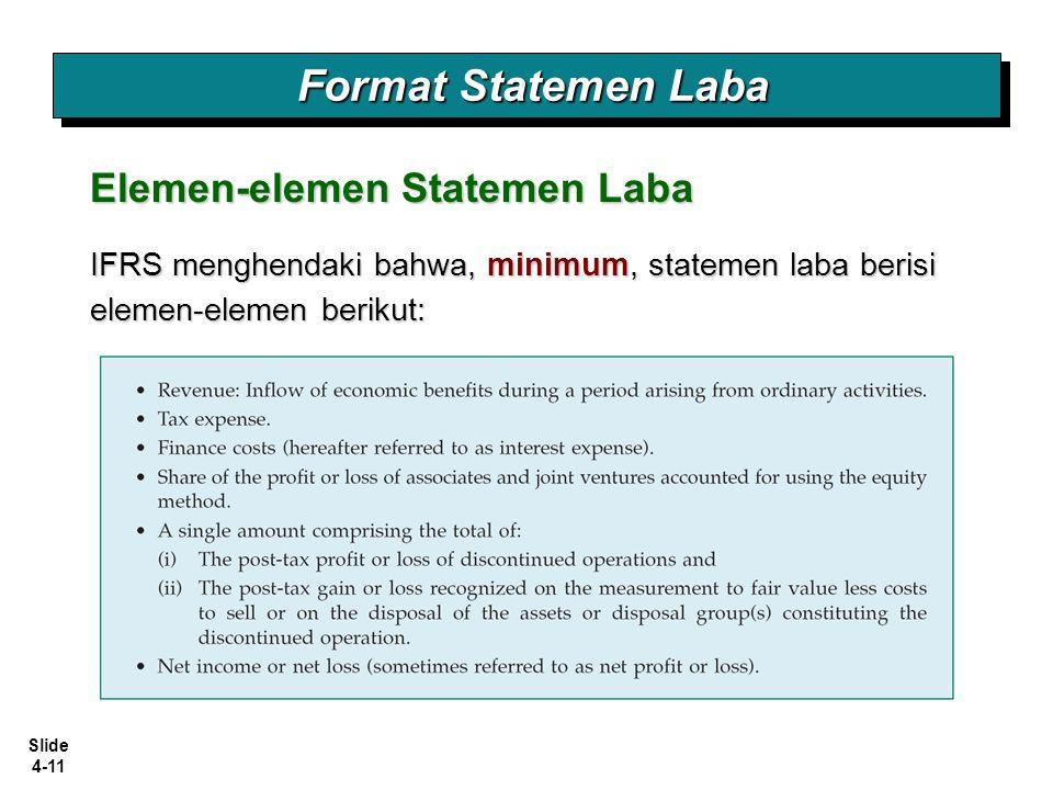 Slide 4-11 Format Statemen Laba Elemen-elemen Statemen Laba IFRS menghendaki bahwa, minimum, statemen laba berisi elemen-elemen berikut: