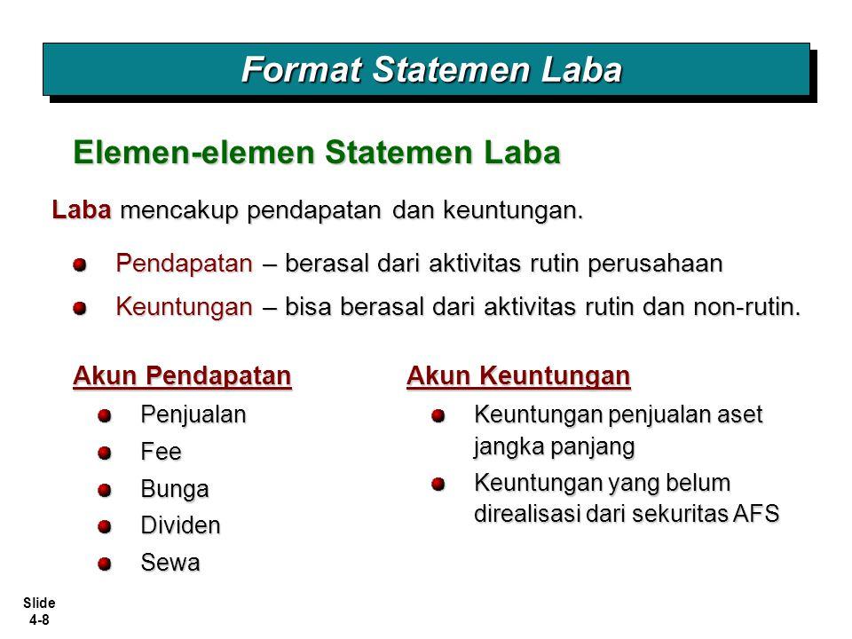 Slide 4-8 Format Statemen Laba Akun Pendapatan Elemen-elemen Statemen Laba PenjualanFeeBungaDividenSewa Laba mencakup pendapatan dan keuntungan. Penda