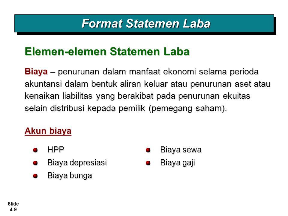 Slide 4-40 Dua pendekatan pelaporan Laba Komprehensif: 1.Dilaporkan terpisah dari Statemen Laba.