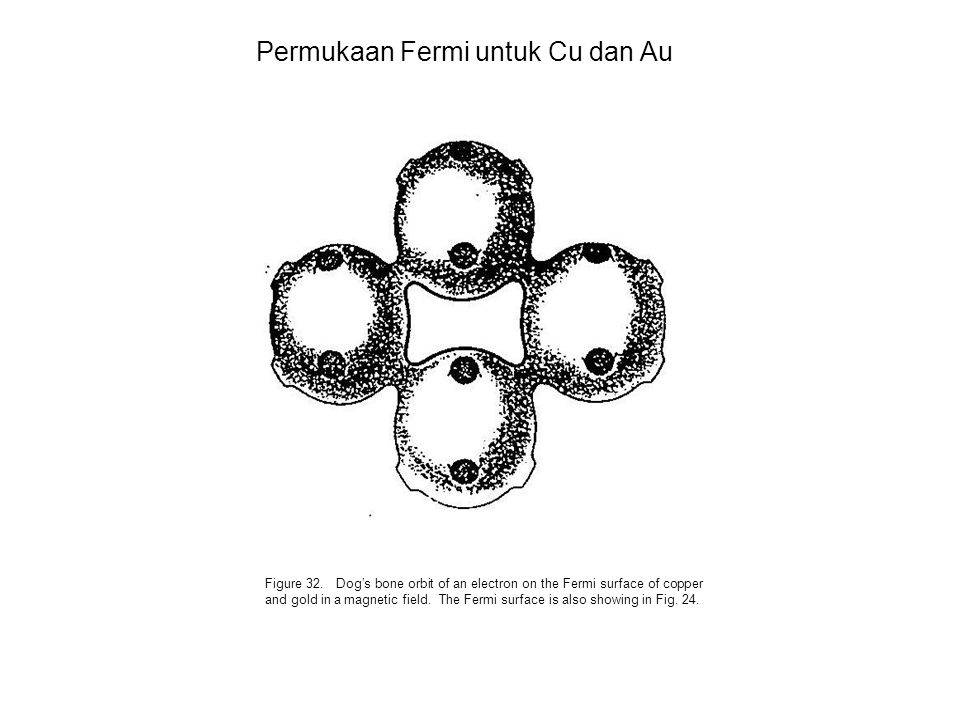 Permukaan Fermi untuk Cu dan Au Figure 32. Dog's bone orbit of an electron on the Fermi surface of copper and gold in a magnetic field. The Fermi surf