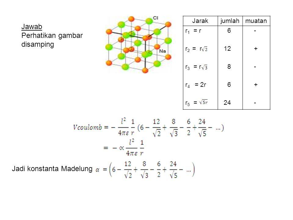Jarakjumlahmuatan r 1 = r r 2 = r r 3 = r r 4 = 2r r 5 = 6 12 8 6 24 - + - + - Jadi konstanta Madelung Jawab Perhatikan gambar disamping