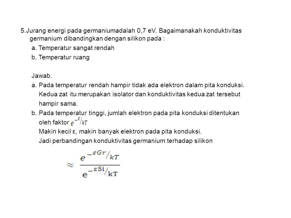 5.Jurang energi pada germaniumadalah 0,7 eV.