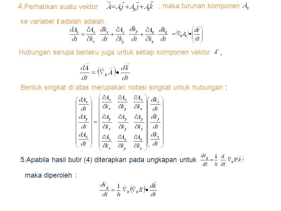 4.Perhatikan suatu vektor ; maka turunan komponen ke variabel t adalah adalah : Hubungan serupa berlaku juga untuk setiap komponen vektor, Bentuk singkat di atas merupakan notasi singkat untuk hubungan : 5.Apabila hasil butir (4) diterapkan pada ungkapan untuk maka diperoleh :