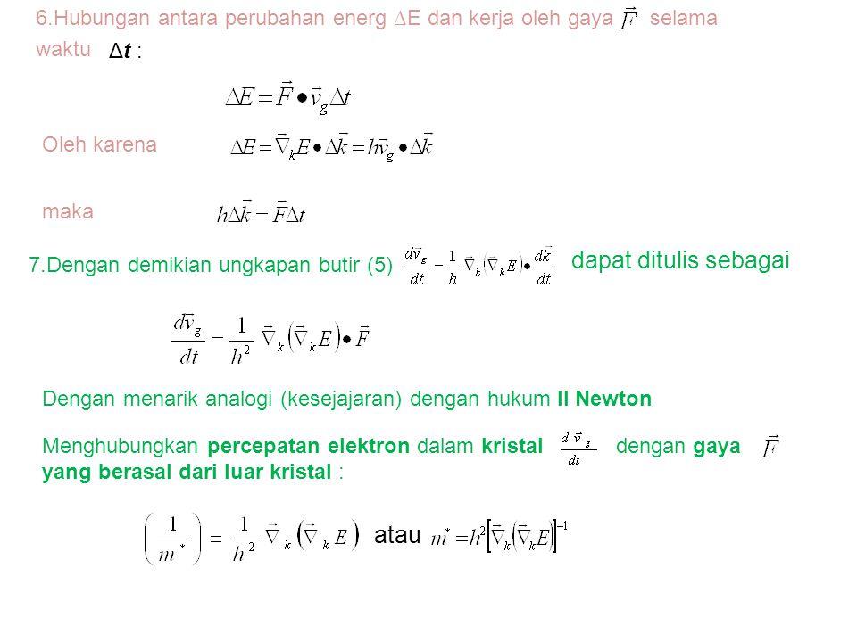 6.Hubungan antara perubahan energ ∆E dan kerja oleh gaya selama waktu Δt : Oleh karena maka 7.Dengan demikian ungkapan butir (5) dapat ditulis sebagai