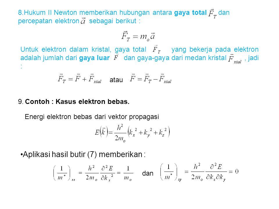 8.Hukum II Newton memberikan hubungan antara gaya total dan percepatan elektron sebagai berikut : Untuk elektron dalam kristal, gaya total yang bekerj