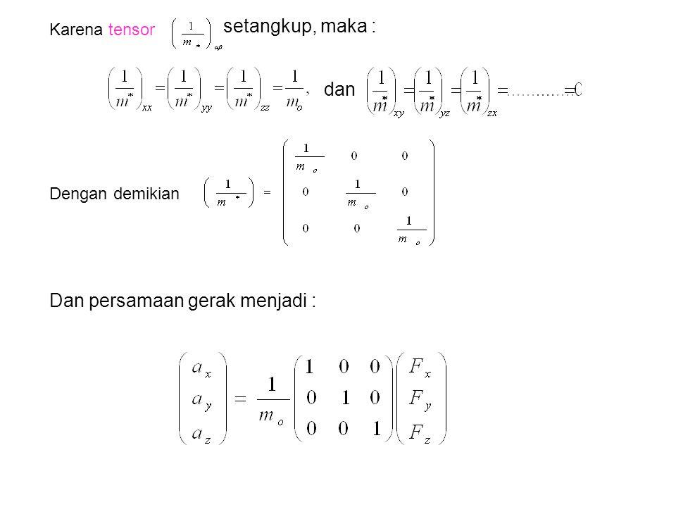 Karena tensor setangkup, maka : dan Dengan demikian Dan persamaan gerak menjadi :