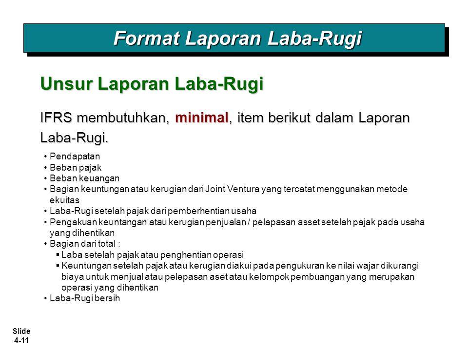 Slide 4-11 Format Laporan Laba-Rugi Unsur Laporan Laba-Rugi IFRS membutuhkan, minimal, item berikut dalam Laporan Laba-Rugi. Pendapatan Beban pajak Be