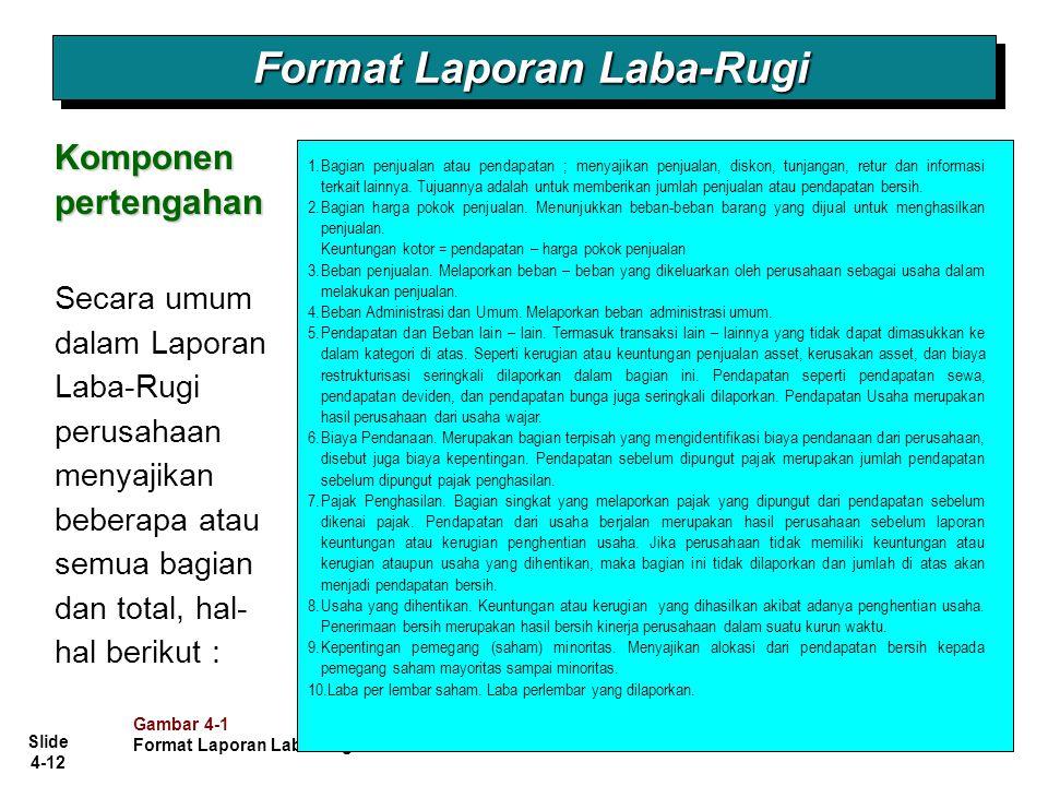 Slide 4-12 Format Laporan Laba-Rugi Komponen pertengahan Secara umum dalam Laporan Laba-Rugi perusahaan menyajikan beberapa atau semua bagian dan tota
