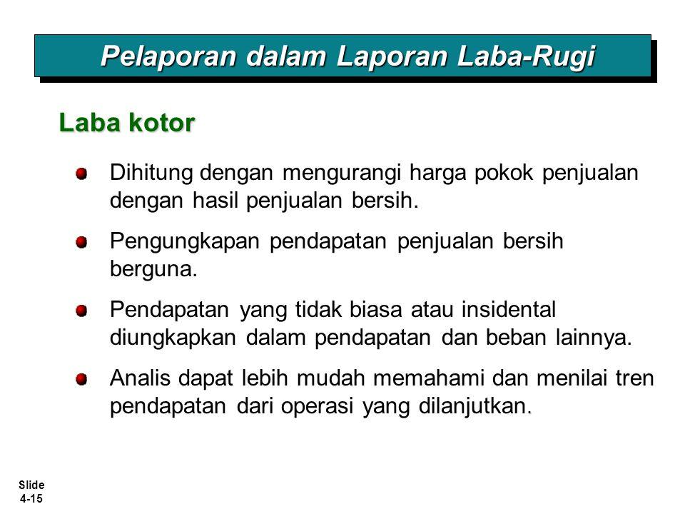 Slide 4-15 Pelaporan dalam Laporan Laba-Rugi Laba kotor Dihitung dengan mengurangi harga pokok penjualan dengan hasil penjualan bersih. Pengungkapan p
