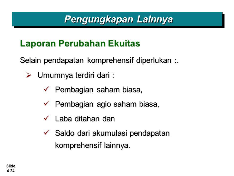 Slide 4-24 Pengungkapan Lainnya Laporan Perubahan Ekuitas Selain pendapatan komprehensif diperlukan :.  Umumnya terdiri dari : Pembagian saham biasa,