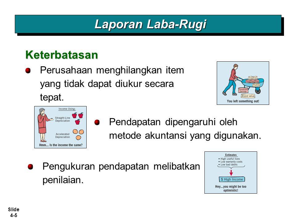 Slide 4-5 Perusahaan menghilangkan item yang tidak dapat diukur secara tepat. Laporan Laba-Rugi Keterbatasan. Pengukuran pendapatan melibatkan penilai