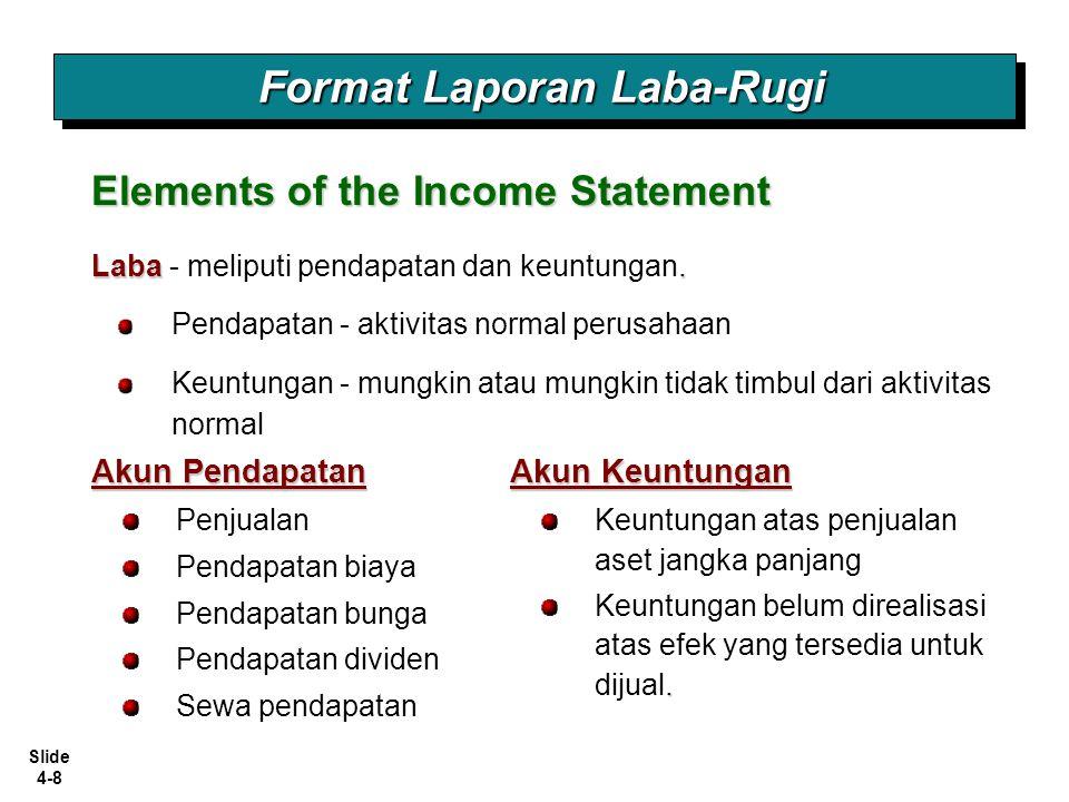 Slide 4-8 Format Laporan Laba-Rugi Akun Pendapatan Elements of the Income Statement Penjualan Pendapatan biaya Pendapatan bunga Pendapatan dividen Sew