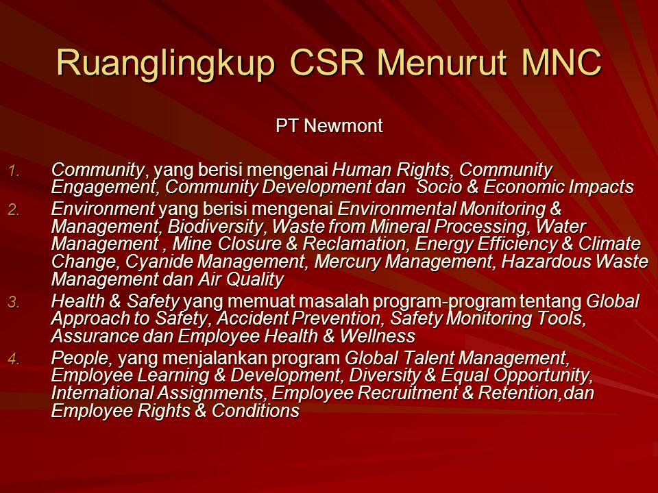 Ruanglingkup CSR Menurut MNC PT Newmont 1. Community, yang berisi mengenai Human Rights, Community Engagement, Community Development dan Socio & Econo