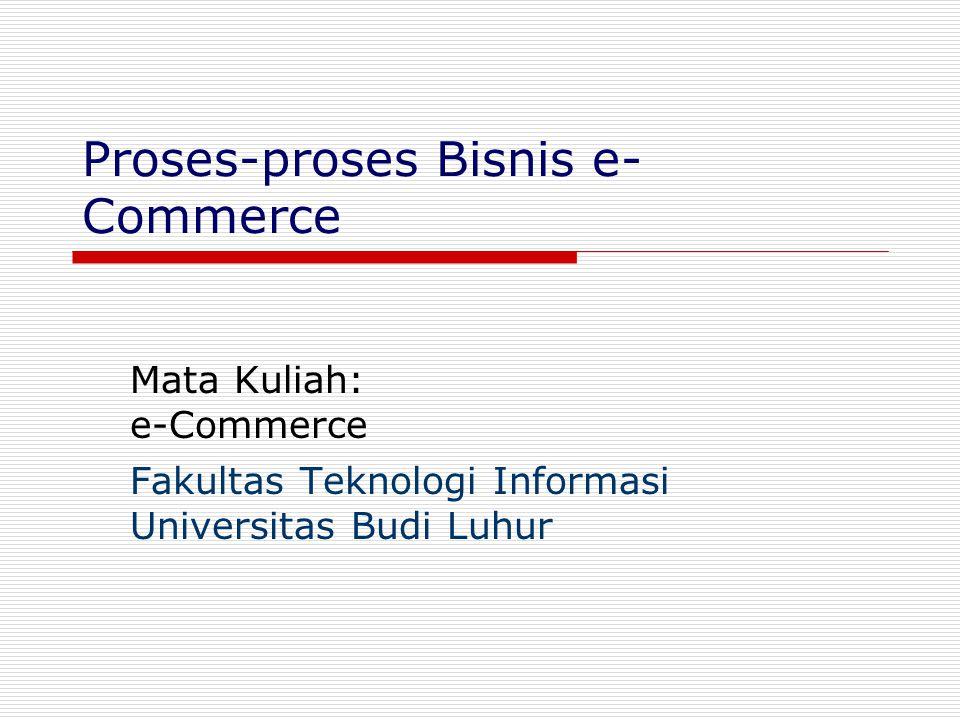 Gasal 2004FTI - UBL2 Proses e-Bisnis  e-Business: proses bisnis terintegrasi dengan ICT Konsep e-Bisnis lahir dari kebutuhan e- Commerce e-Commerce adalah sisi-muka (customer interface) dari e-Bisnis konsumen e-Bisnis e-Commerce