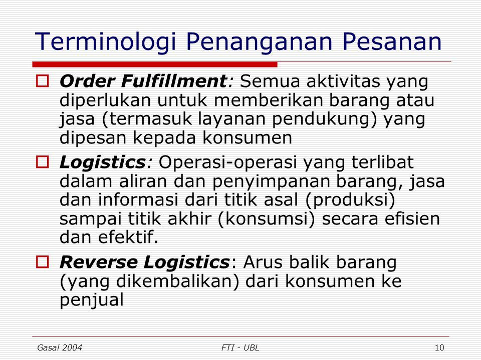 Gasal 2004FTI - UBL10 Terminologi Penanganan Pesanan  Order Fulfillment: Semua aktivitas yang diperlukan untuk memberikan barang atau jasa (termasuk