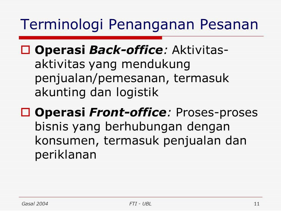 Gasal 2004FTI - UBL11 Terminologi Penanganan Pesanan  Operasi Back-office: Aktivitas- aktivitas yang mendukung penjualan/pemesanan, termasuk akunting