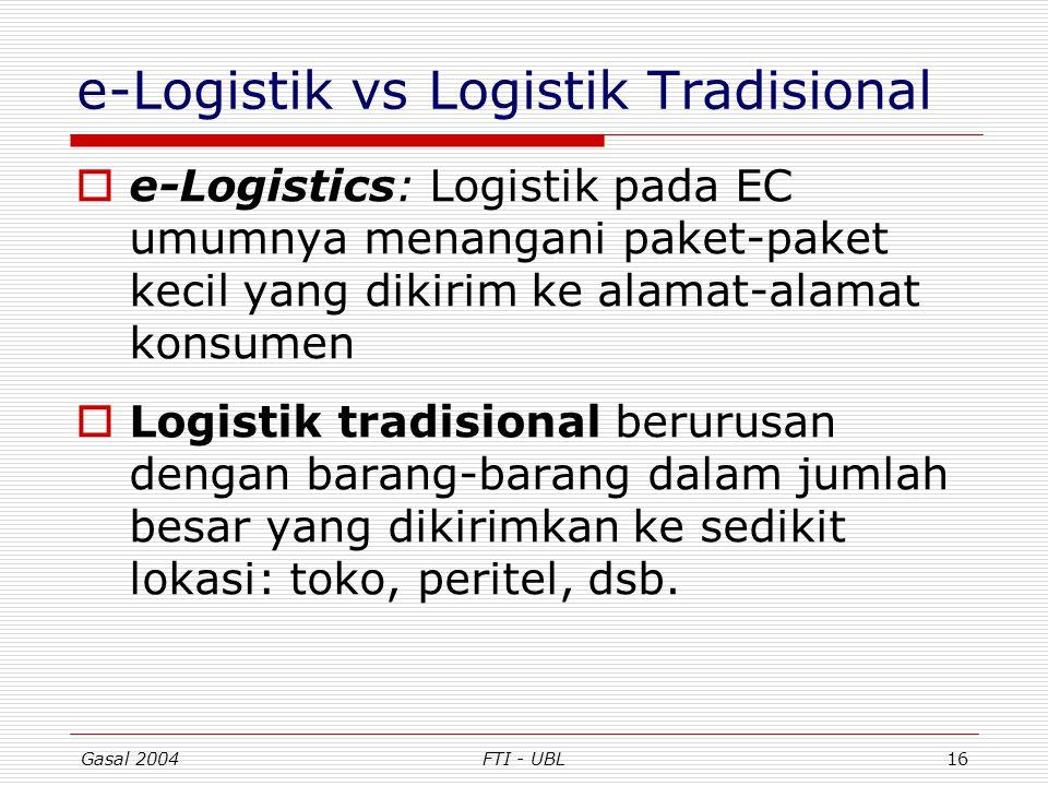 Gasal 2004FTI - UBL16 e-Logistik vs Logistik Tradisional  e-Logistics: Logistik pada EC umumnya menangani paket-paket kecil yang dikirim ke alamat-al