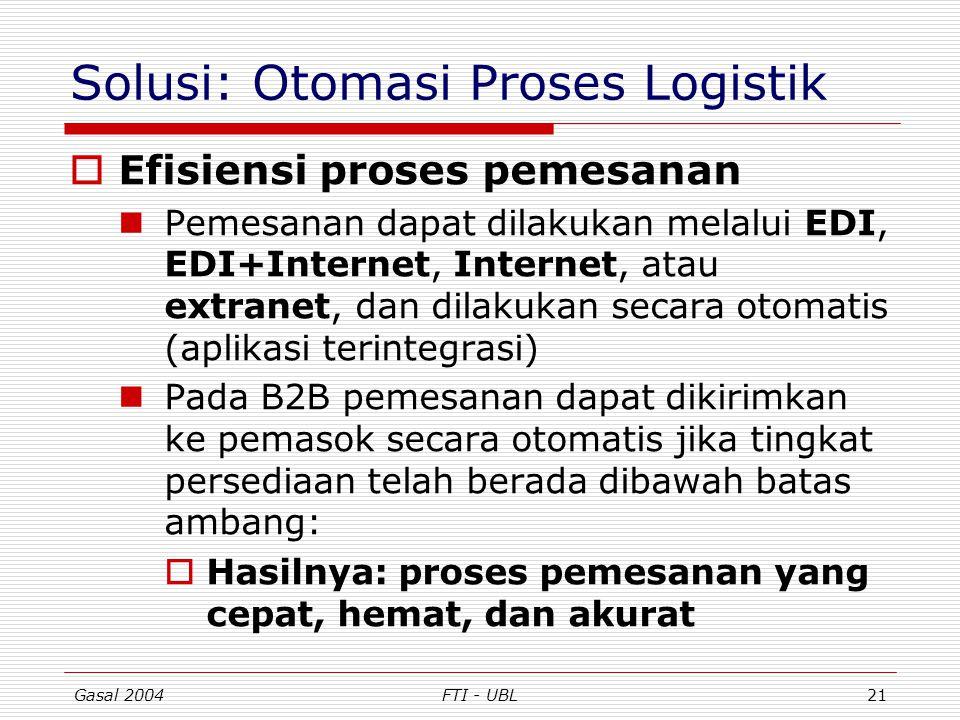 Gasal 2004FTI - UBL21 Solusi: Otomasi Proses Logistik  Efisiensi proses pemesanan Pemesanan dapat dilakukan melalui EDI, EDI+Internet, Internet, atau
