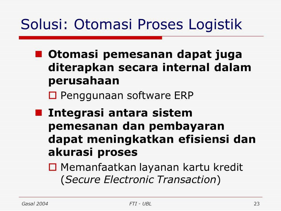 Gasal 2004FTI - UBL23 Solusi: Otomasi Proses Logistik Otomasi pemesanan dapat juga diterapkan secara internal dalam perusahaan  Penggunaan software E
