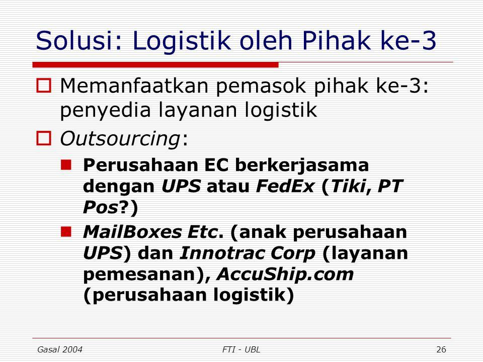 Gasal 2004FTI - UBL26 Solusi: Logistik oleh Pihak ke-3  Memanfaatkan pemasok pihak ke-3: penyedia layanan logistik  Outsourcing: Perusahaan EC berke