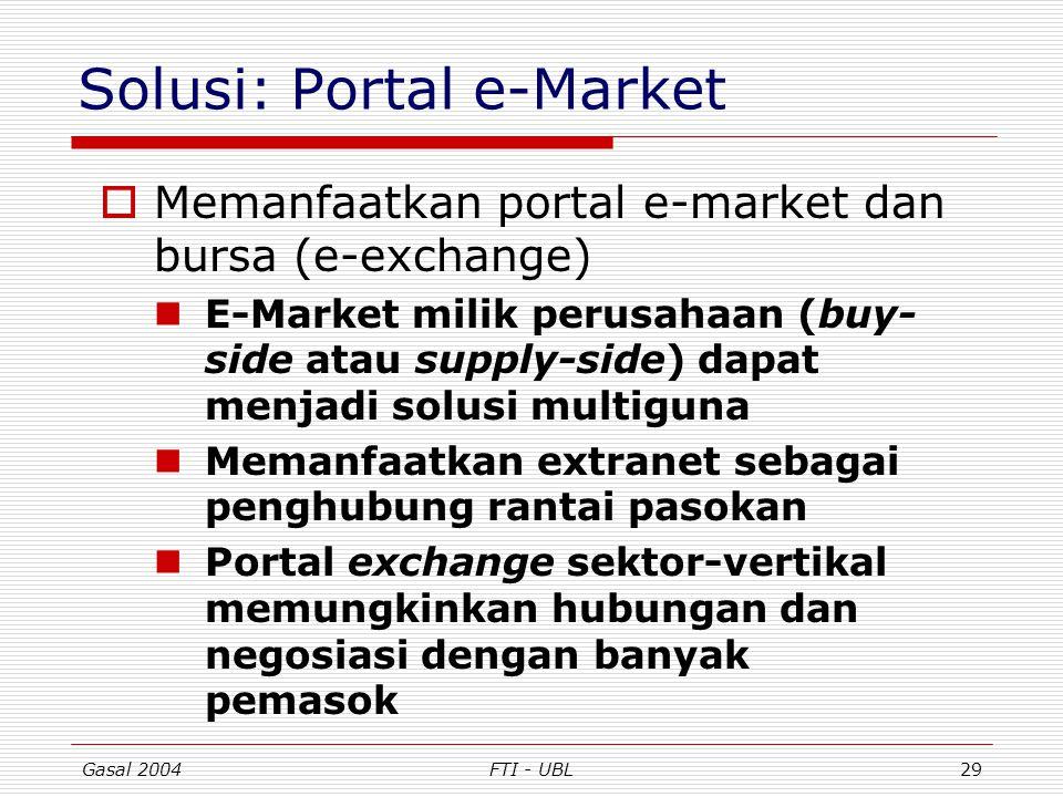 Gasal 2004FTI - UBL29 Solusi: Portal e-Market  Memanfaatkan portal e-market dan bursa (e-exchange) E-Market milik perusahaan (buy- side atau supply-s