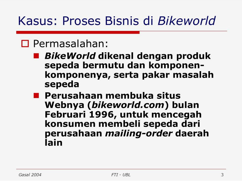 Gasal 2004FTI - UBL4 Proses Bisnis Bikeworld (lanjut) BikeWorld kewalahan menangani pemesanan dan layanan purna-jual para konsumen onlinenya Padahal penjualan lewat Internet terus meningkat Waktu untuk memproses pesanan, pengiriman, dan menjawab pertanyaan tentang status pesanan konsumen tidak tertangani perusahaan kecil tsb.