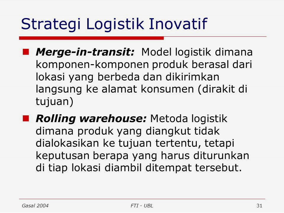 Gasal 2004FTI - UBL31 Strategi Logistik Inovatif Merge-in-transit: Model logistik dimana komponen-komponen produk berasal dari lokasi yang berbeda dan