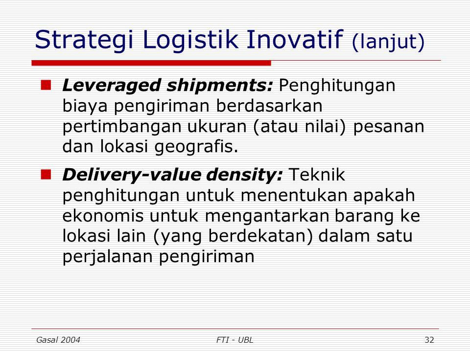 Gasal 2004FTI - UBL32 Strategi Logistik Inovatif (lanjut) Leveraged shipments: Penghitungan biaya pengiriman berdasarkan pertimbangan ukuran (atau nil