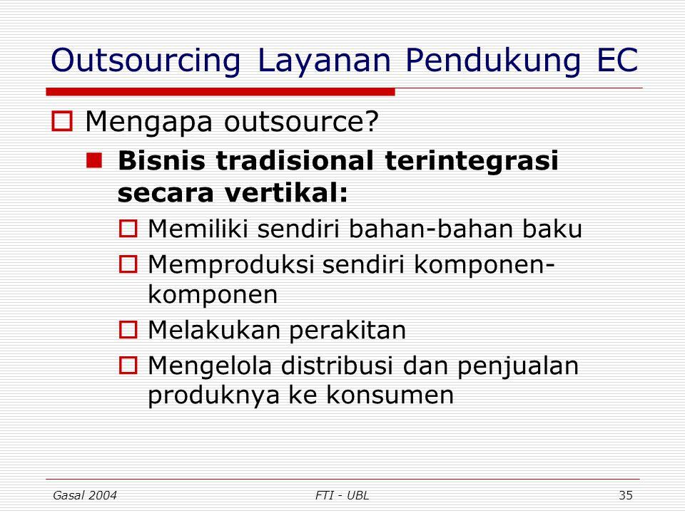 Gasal 2004FTI - UBL35 Outsourcing Layanan Pendukung EC  Mengapa outsource? Bisnis tradisional terintegrasi secara vertikal:  Memiliki sendiri bahan-