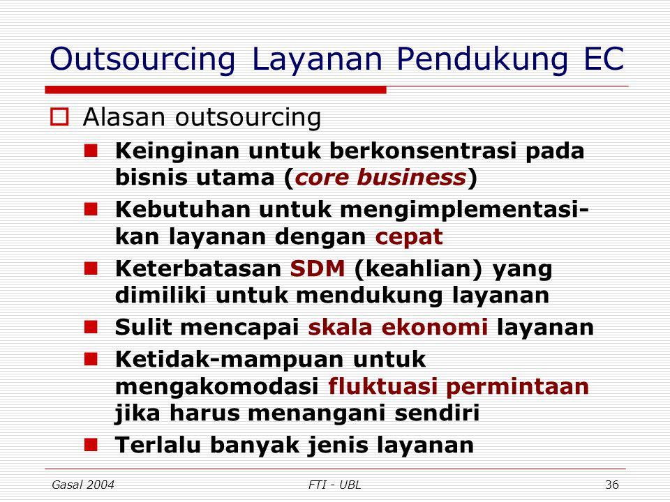 Gasal 2004FTI - UBL36 Outsourcing Layanan Pendukung EC  Alasan outsourcing Keinginan untuk berkonsentrasi pada bisnis utama (core business) Kebutuhan