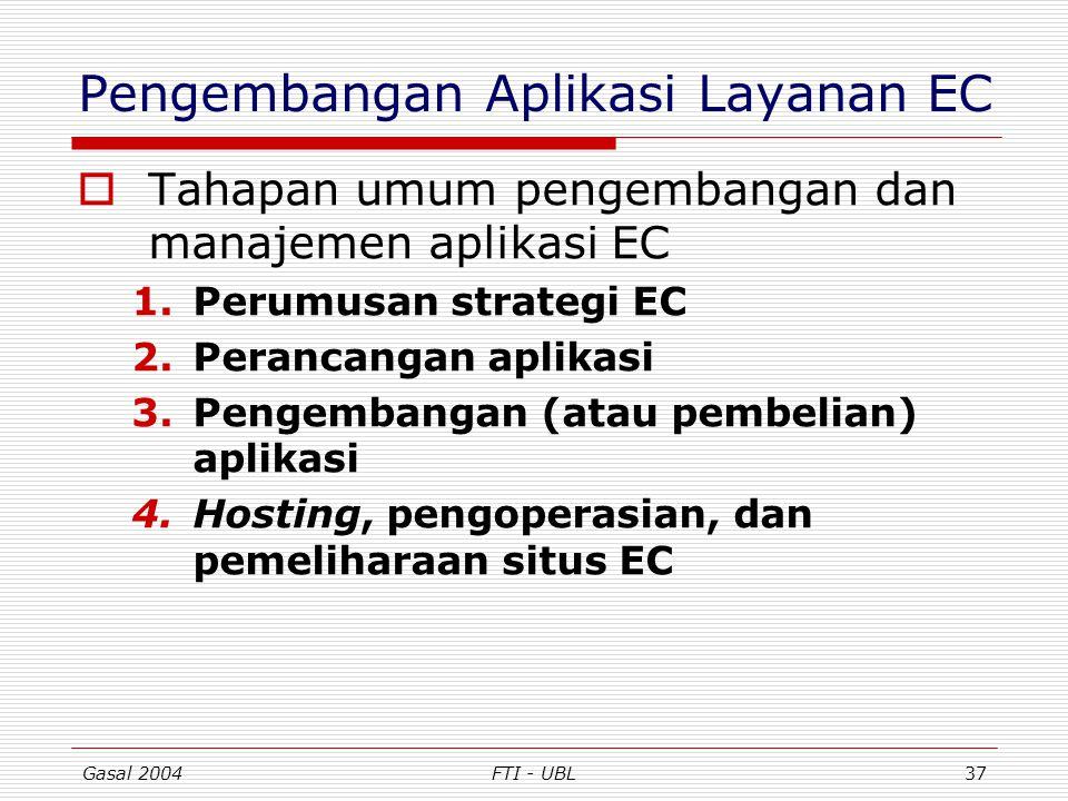 Gasal 2004FTI - UBL37 Pengembangan Aplikasi Layanan EC  Tahapan umum pengembangan dan manajemen aplikasi EC 1.Perumusan strategi EC 2.Perancangan apl