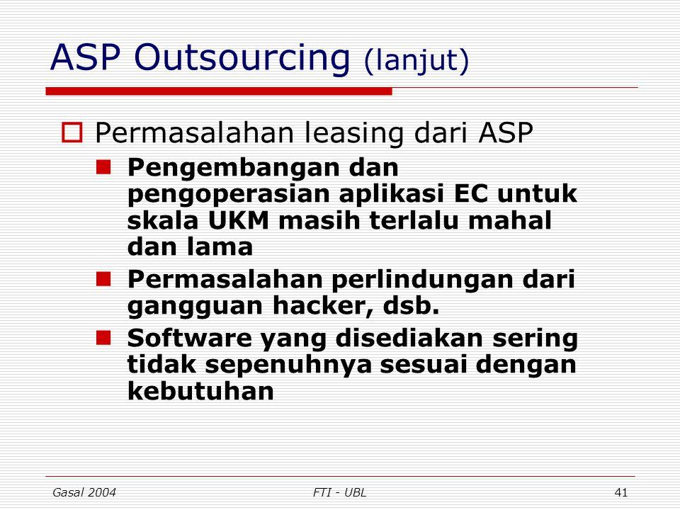 Gasal 2004FTI - UBL41 ASP Outsourcing (lanjut)  Permasalahan leasing dari ASP Pengembangan dan pengoperasian aplikasi EC untuk skala UKM masih terlal